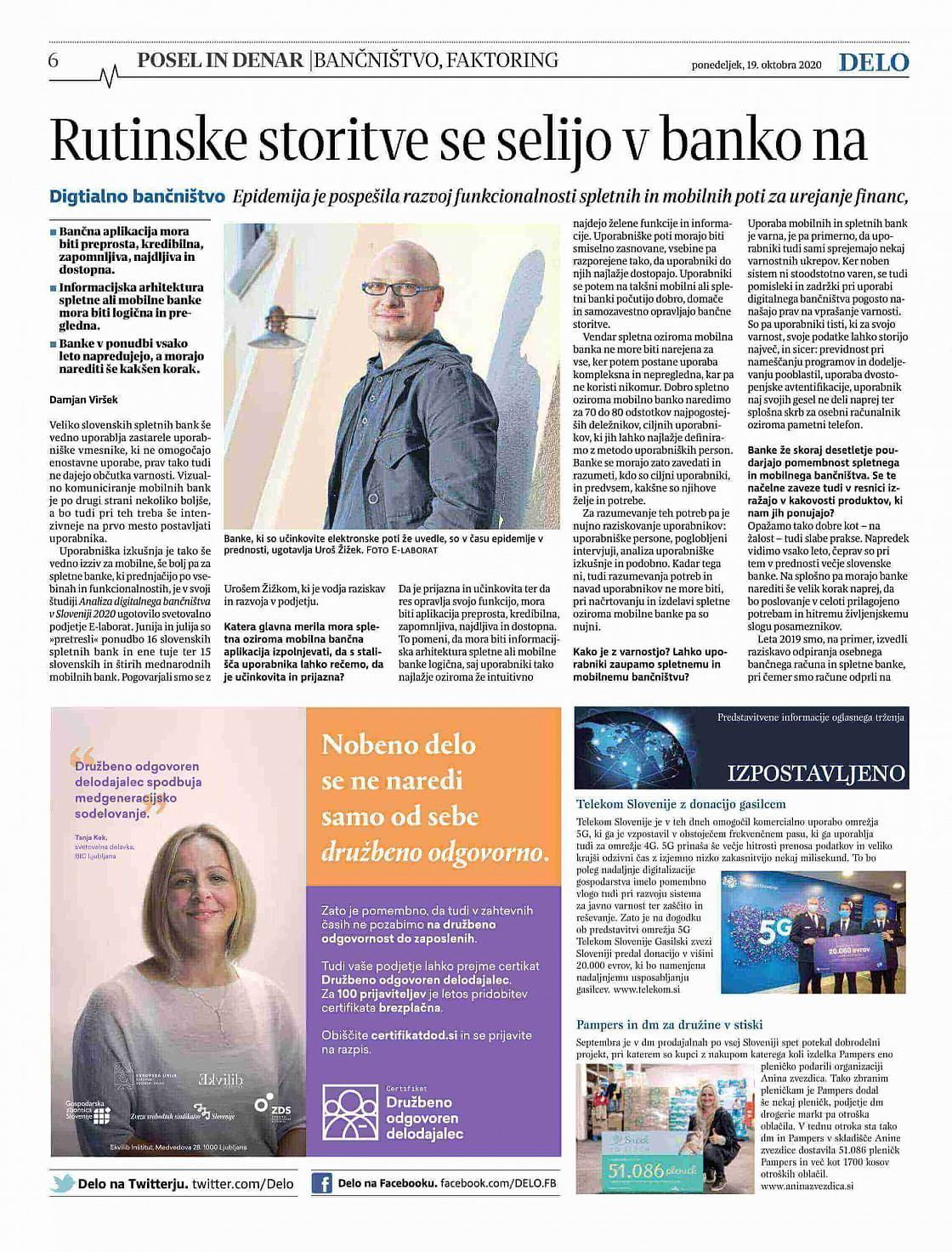 Intervju z Urošem Žižekom v Delu o digitalnem bančništvu v Sloveniji